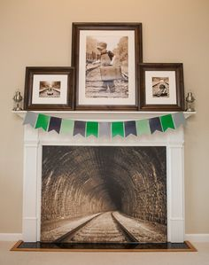Train tunnel in a fireplace // Train Party Ideas // Paige Simple // www.paigesimple.com