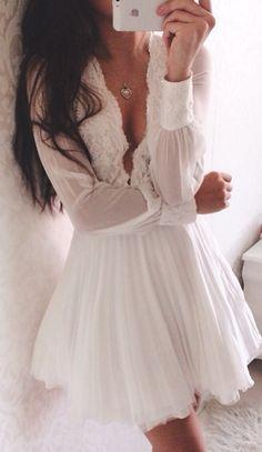 Pretty white lace dress.