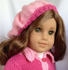spring beret for AG dolls - free Ravelry download