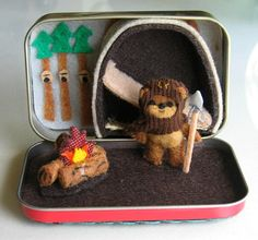Ewok miniature plush Star Wars character playset in Altoid tin with bed campfire and spear