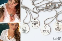 A few words go a long way. Jewelry? Good. Jewelry that inspires you? Girl, that's motivation you can't buy. Because sometimes you need a reminder of who you are or where you're going or the guts you need to get you there. Added bonus - they look great with everything and make great gifts! Necklaces are lead and nickel free...of course! #charmnecklace pickyourplum.com