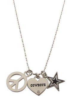 Dallas Cowboys 3 Piece Peace Love Charm Womens Necklace | Dallas Cowboys Womens Necklace http://www.rallyhouse.com/shop/dallas-cowboys-100886464 $14.99