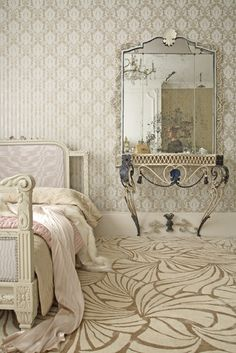 Hollywood Glam Bedroom Design mixed patterned walls and carpeting