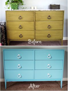 It's amazing what a coat of paint can do – Our dresser before and after