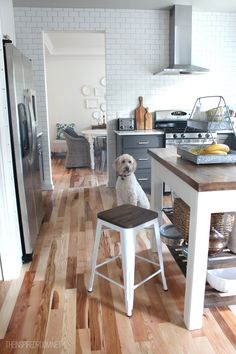The Inspired Room Kitchen update, new farmhouse style metal barstools!
