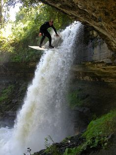 Waterfall Surfing, Minnehaha Falls, Minnesota >>> This is crazy! Has anyone tried this??