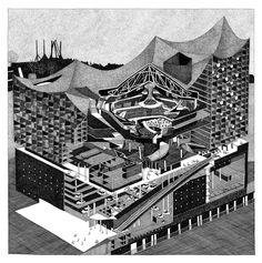 """Elbiphilharmonie of Herzog and de Meuron"" Diane Berg. #drawing #axonometric #penandink"