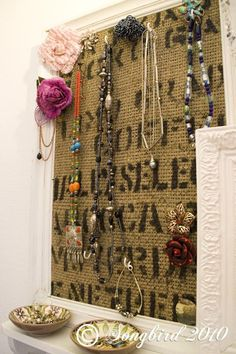 jewelry holder with coffee bean bag & old frame, I have both of these! I need to do it!!!