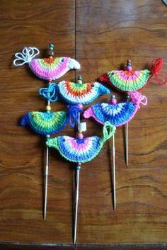 pajaros de crochet para maceta