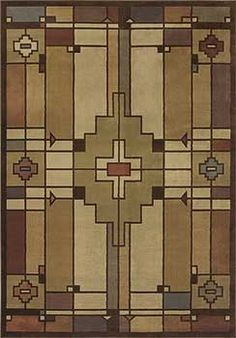Think Arts and Crafts, Bungalow, Craftsman or Mission style homes and decor. This rug works in all of them. Machine made olefin. Many sizes for the perfect spot in your home. Terra-Cotta-Light-Multi