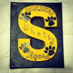DIY Decorated Mizzou Tigers letter on canvas. The letter matches the name of the person  for example: (S for Shelby)