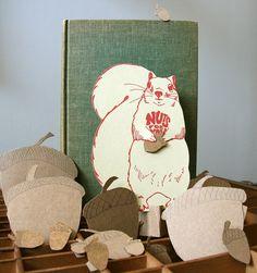 squirrel letterpress gift card