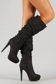 Slouchy High Heel Buckle Shoes