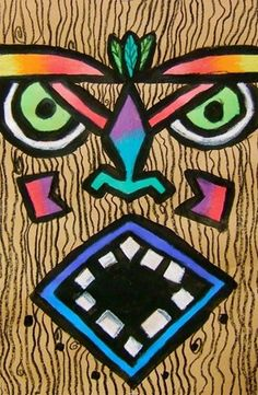 Tiki face - drawing, symmetry, blending colors using oil pastel, outlining for effect