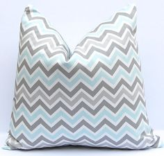 Throw Pillow Covers Baby Boy Nursery Decor 20 x 20 Aqua and Gray Chevron Pillows