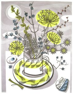 graphic, cups, art, moonlit cup, angie lewin, angi lewin, linocut, prints, illustr