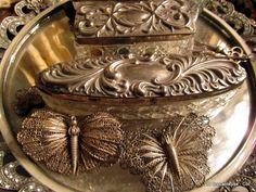 french silver dresser set