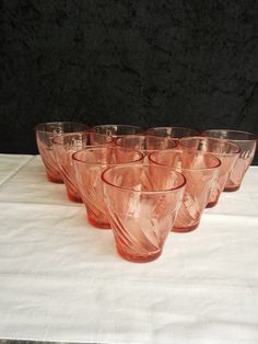 Vereco Beau Rivage pink glass water glasses vintage by Frenchidyll, $20.00