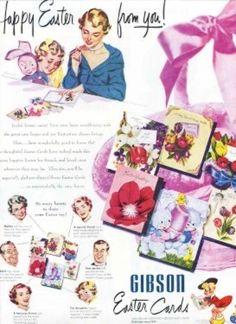 vintag holiday, easter card, easter ad, vintag easter, mid centuri