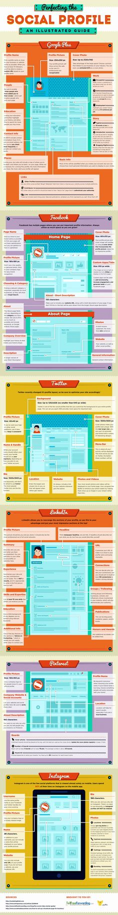 Facebook, Google+, Twitter, etc. - Perfecting Your Social Media Profiles - #infographic