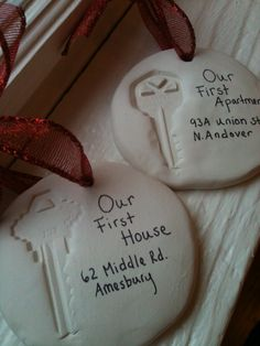 Places we have lived ornaments - key imprinted on and hole poked into oven-bake clay; baked at 275 for 15 minutes; writing added with fine point sharpie