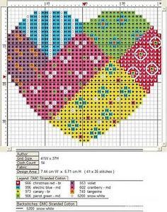 MÁS PUNTO DE CRUZ: corazones; patchwork heart;  color key; will stitch up quickly.