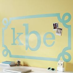 Monogrammed wall decals are a cute and easy way to decorate your dorm this fall.