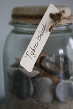 keepsake from your destinations...store in a mason jar, cover with burlap, add a cute little label listing whereabouts