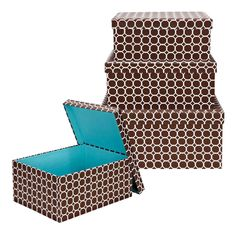 Macbeth Nested Storage Boxes With Removable Lids In Hula Chocolate -
