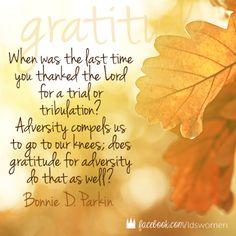 Gratitude for adversity
