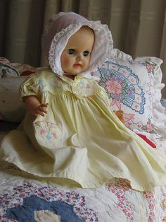 vintage baby doll in yellow