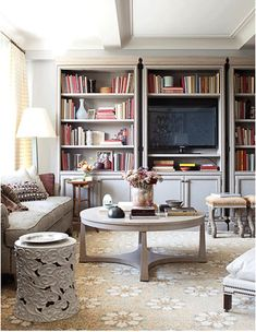 pretty palette with bookcase styling