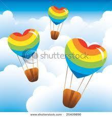 heart shape rainbow color  hot air balloon