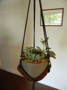 beaded plant hanger - modern planter - natural wood beads ...
