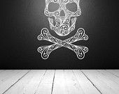 Wall Decal Sugar Skull Crossbones Tattoo Rock and Roll Dorm Decor Halloween