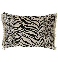 Black Zebra & Cheetah Patchwork Pillow