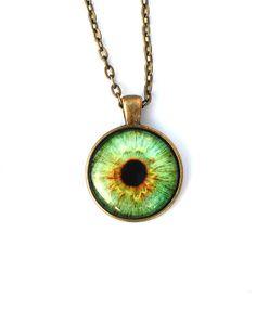 Luz verde collar / colgante del ojo / ojo joyería / Human Iris collar / tercer ojo