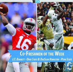 J.T. BARRETT NAMED THE B1G CO-FRESHMAN OF THE WEEK 9-1-2014. YEAH, HE WAS THAT GOOD!