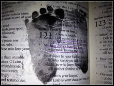 Baby footprints on favorite Bible verse the day they are born!