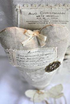 craft, linen heart, fabric heart, script