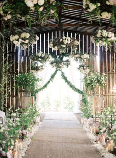 Wow - breathtaking spring wedding set up wedding ceremonies, white flowers, spring weddings, barn weddings, wedding flowers, ceilings, barns, floral designs, romantic flowers