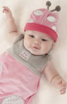 So cute! Love this adorable ladybug wearable blanket and hat.