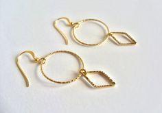 Gold geometric earrings 18K gold filled dangle by SeaCastleDesigns