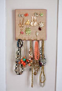 Burlap Canvas Jewelry Organizer