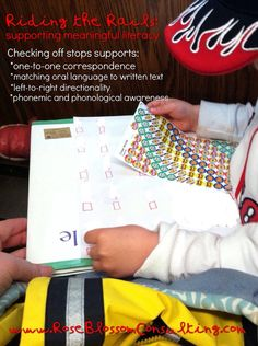 Check out Rose Blossom Consulting's post on supporting meaningful literacy on a train ride. Helps children develop one-to-one correspondence, phonemic and phonological awareness, matching oral language to written text, and left-to-right directionality. #emergentreaders #earlychildhoodliteracy