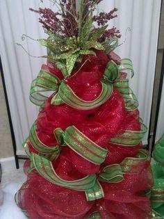 Red deco mesh  Christmas tree.