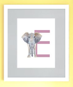 """E is for Elephant Wall Art #nursery. If your little one loves elephants or their name begins with the letter """"E"""" - this is perfect!  $19.00 - https://www.etsy.com/listing/190490800/e-is-for-elephant-wall-art-nursery"""