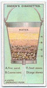 """Lifehack from 100 years ago: """"A most handy and efficacious filter can be made out of an ordinary perfectly clean zinc water pail, through the bottom of which a hole has been drilled and a small pipe fitted. The water percolates through the layers of fine and coarse sand, and clean picked gravel and stones, with which the pail is filled, filtering through to the bottom in a clear state."""""""