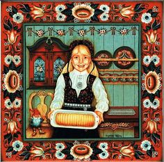 "Norwegian Tile Trivet ""Almond Cake Girl"" with recipe 6"" X 6"""