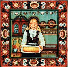 """Norwegian Tile Trivet """"Almond Cake Girl"""" with recipe 6"""" X 6"""""""